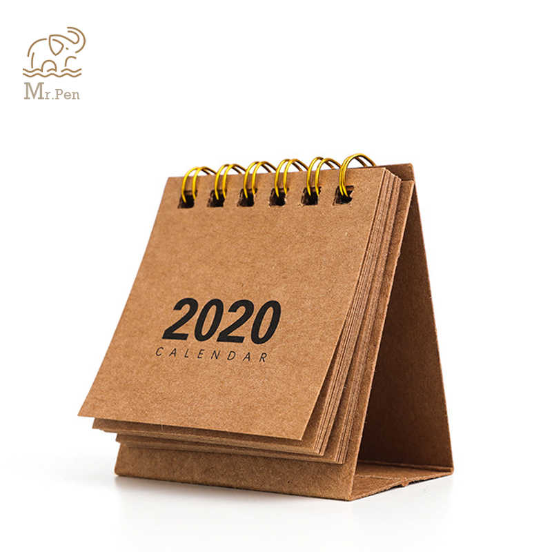 2020 Kraft Paper Coil Calendar DIY Mini Desk Calendars Daily Schedule Planner 2019.09-2020.12 Office Decoration Calendar