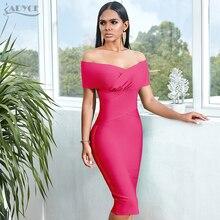 ADYCE nowy lato off shoulder bandażowy sukienka kobiety 2020 seksowna sukienka z krótkim rękawem Midi Bodycon klub wybieg gwiazd sukienka na imprezę Vestidos