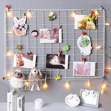 Rejilla de hierro para exhibir fotos, estante de almacenamiento para colgar en la pared del hogar, bricolaje