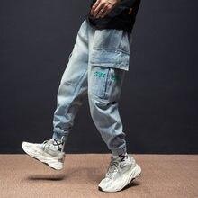 Мужские винтажные джинсы в японском стиле свободные джинсовые