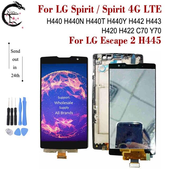 LCD + الإطار ل LG الروح 4G LTE H440 H440N H440Y H442 H443 H420 H422 C70 Y70 H445 شاشة عرض تعمل باللمس الاستشعار محول الأرقام الجمعية
