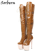 Sorbern Deep Brown Thigh High Women Boots 20Cm Extreme High Heels Pole Dance Shoes Gothic Boots Women Platform 10Cm Straps(China)
