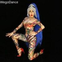 Hot sale Multi color Rhinestones Long Sleeve Spandex Jumpsuit Female Singer Dance Stage Wear Women Bodysuit romper bodysuit