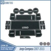 Araba Gadget Pad JEEP pusula 2007 2008 için 2009 2010 2011 2012 2013 MK1 MK49 aksesuarları jel kauçuk ped kapısı yuvası mat bardak paspaslar