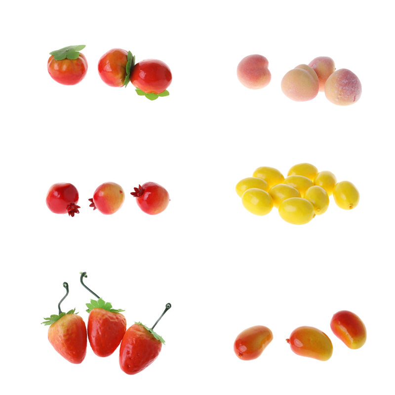 20pcs Lifelike Artificial Tomato/Orange/Pomegranate/Strawberry/Lemon/Peach/Mango Plastic Simulation Fake Fruit Home Party Decor