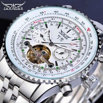 Jaragar Fashion Mens Mechanical Watch Tourbillon Automatic White Date Display Stainless Steel Strap Military Sport Clock Relojes