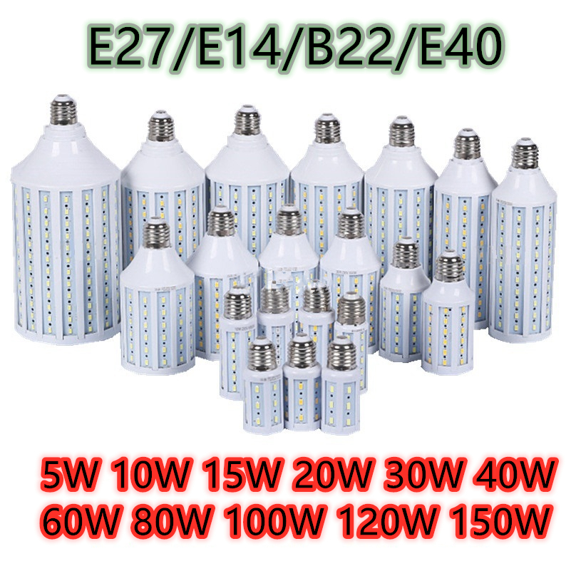 E27 B22 E40 E14 светодиодный светильник переменного тока 220V светильник лампа светодиодный 5 Вт ~ 150 Вт 5730 2835SMD кукурузная лампочка энергосберегающа...