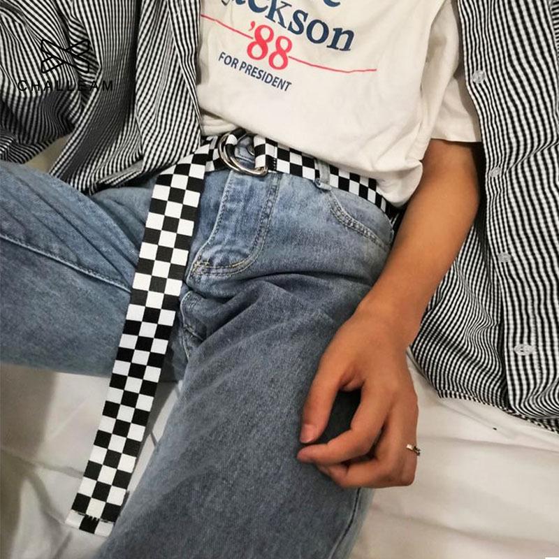 Women Canvas Plaid Belt Female Checkerboard Belt Casual Waist Black White Checkered Double D Ring Buckle Long Belts 357