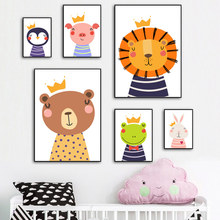 Cartoon animals wall art canvas painting nordic pictures lions pigs elephants tigers frog penguins for living room unframed