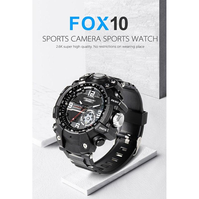 FOX10 sport caméra montre à distance Wifi grande capacité HD X1440P caméra bracelet éblouissement Lighti IP67 étanche montre intelligente