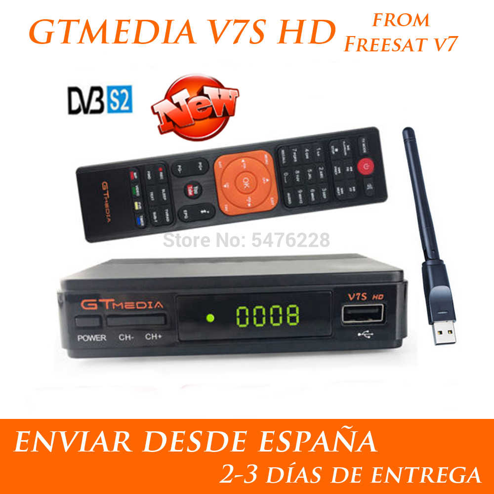 Hot Koop Gtmedia V7S Hd Met Usb Wifi Gt Media V7s Hd Power Door Freesat V7 H.265 1080P Geen app Omvatten