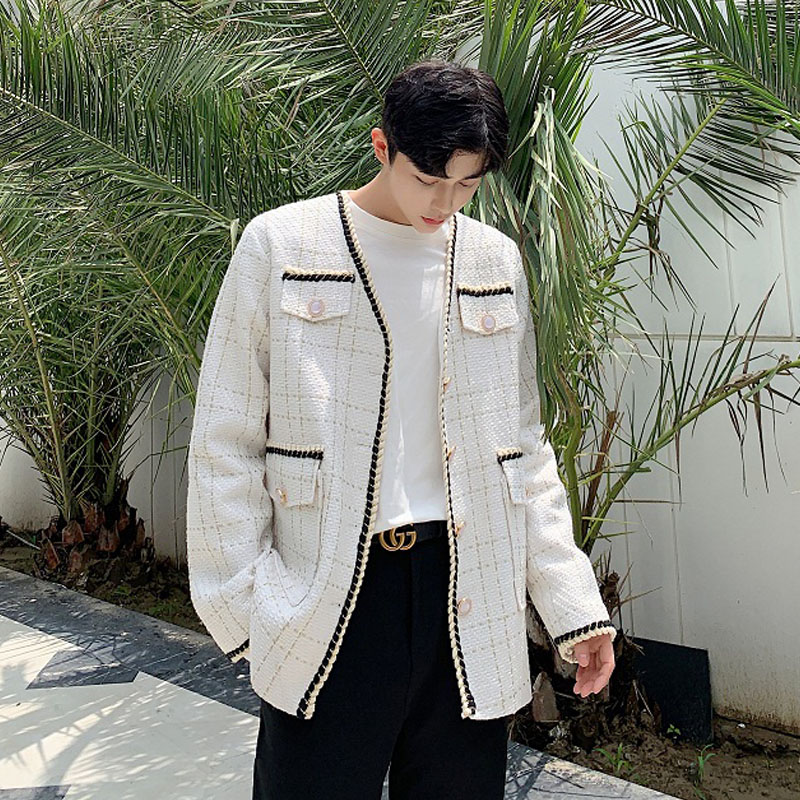 Men Vintage Casual Plaid Blazer Jacket Male Women Streetwear Fashion Lovers Suit Coat Outerwear