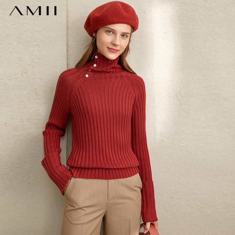 Amii Minimalist Turtleneck Sweater Autumn High Street Office Lady Solid Slim Fit Female Pullovers Knitted Tops 11840126