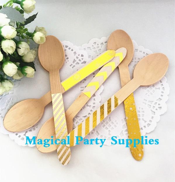 New Design Metallic Foil Wooden Mini Dessert Spoons Set of 60pcs Candy Bar Buffet Festive Christmas Favors Eco-Friendly Cutlery