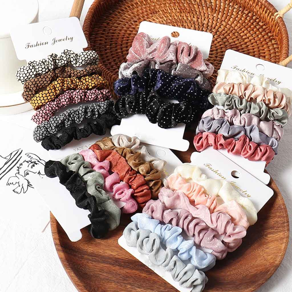 1 Set Scrunchies Hair Ring Candy Color Hair Ties Rope Autumn Winter Women Ponytail Hair Accessories 4-6Pcs Girls Hairbands  0.89