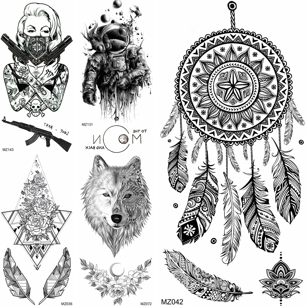Black Dreamcatcher Temporary <font><b>Tattoos</b></font> Sticker Geometric Mandala Flower Fake <font><b>Gangster</b></font> Wolf <font><b>Tattoo</b></font> For Adult Fashion Body Art Tatoo image