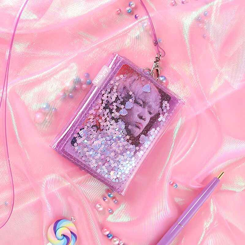 Bentoy Gadis Dompet Transparan Dompet Halter Glitter Dompet Lucu Gadis Pasir Hisap Paillette Kartu Korea Kawaii Dompet Koin