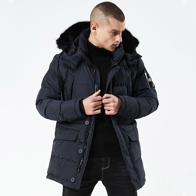 2020 New Winter Casual MID-Long Style Hooded Cotton Padded Jackets Men's Thicken Hat Windproof Fashion Parkas Pockets Coats
