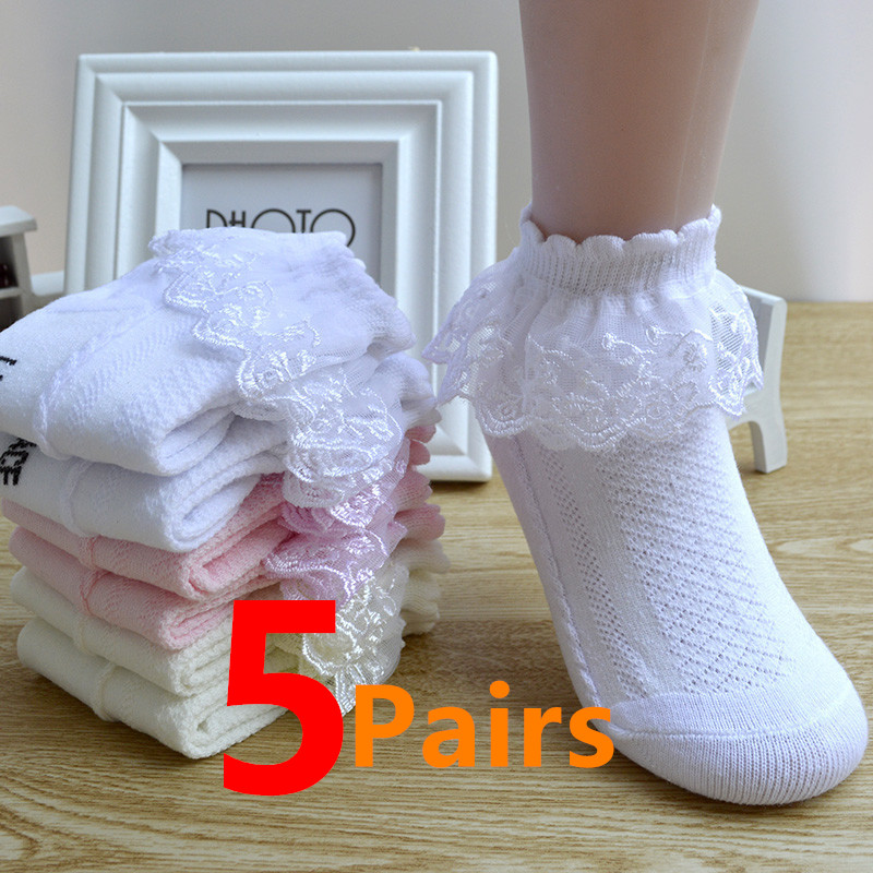 5 Pairs/Lot Girls Socks Summer New Mesh Style Cotton Thin Baby Socks Trendy Elastic White Lace Flowers Children Princess Socks