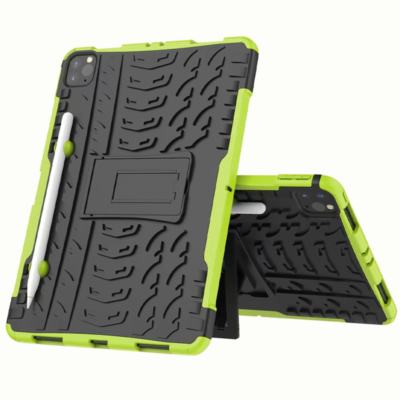 Green Green Shockproof Armor Case For New iPad Pro 11 2020 Case With Pencil Holder Flip Stand Cover