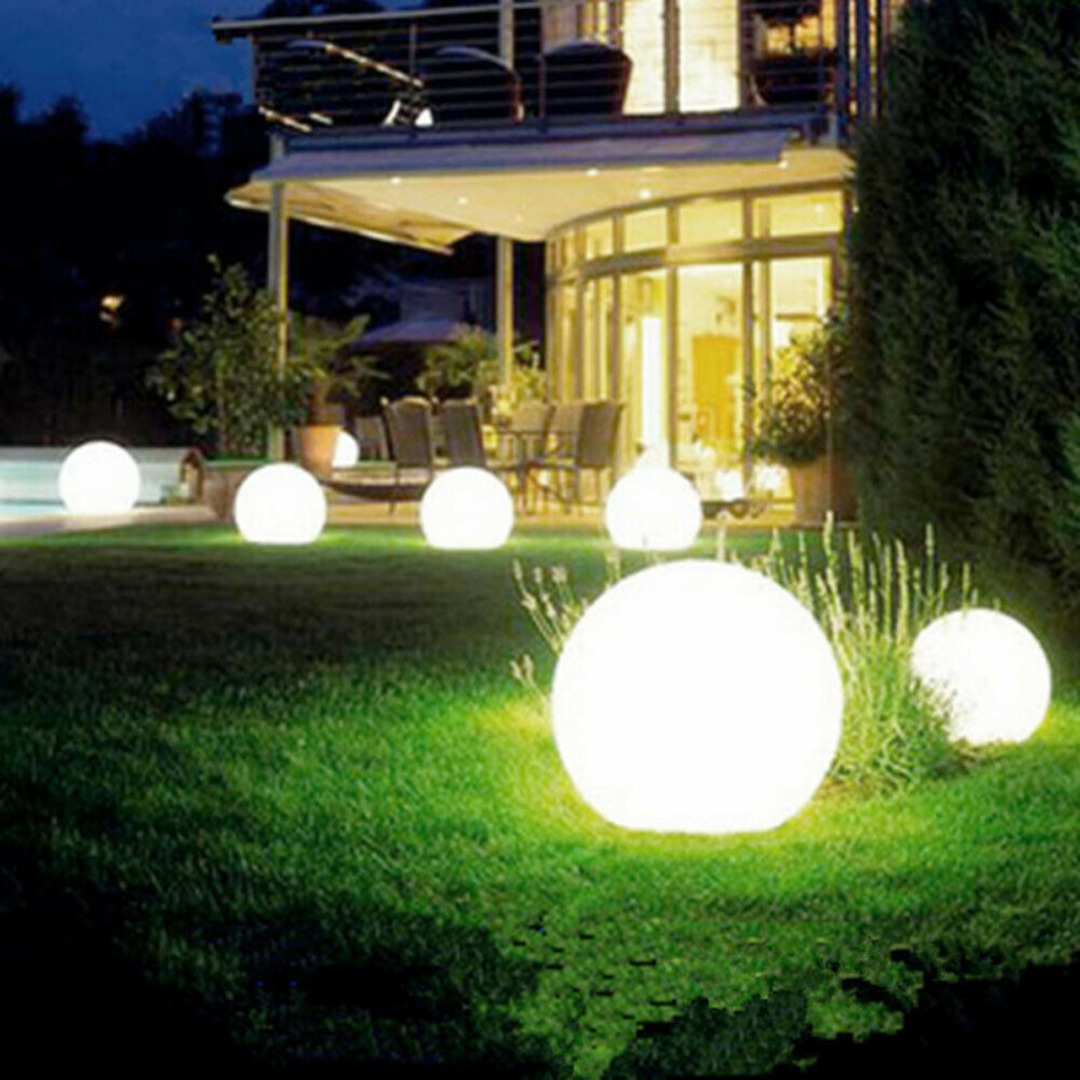 2pcs LED Solar Round Bulb Lawn Light Waterproof Spike Outdoor Garden Yard Path Ground Solar Lights