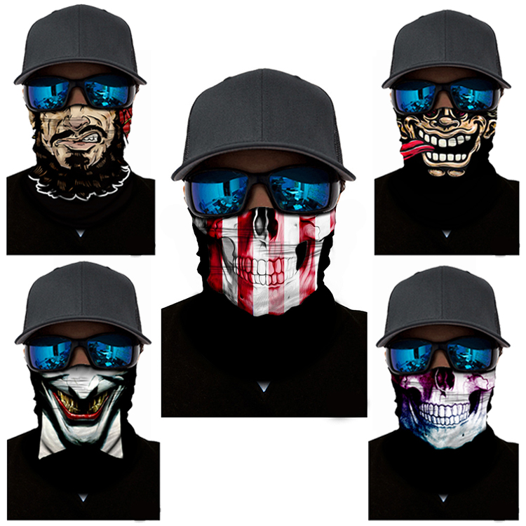 WOSAWE Cycling Facemasks Ski Mask Scarf Neck Warmer Skull Balaclava Ski Mask For Face Headband Halloween Joke Cycling Face Mask