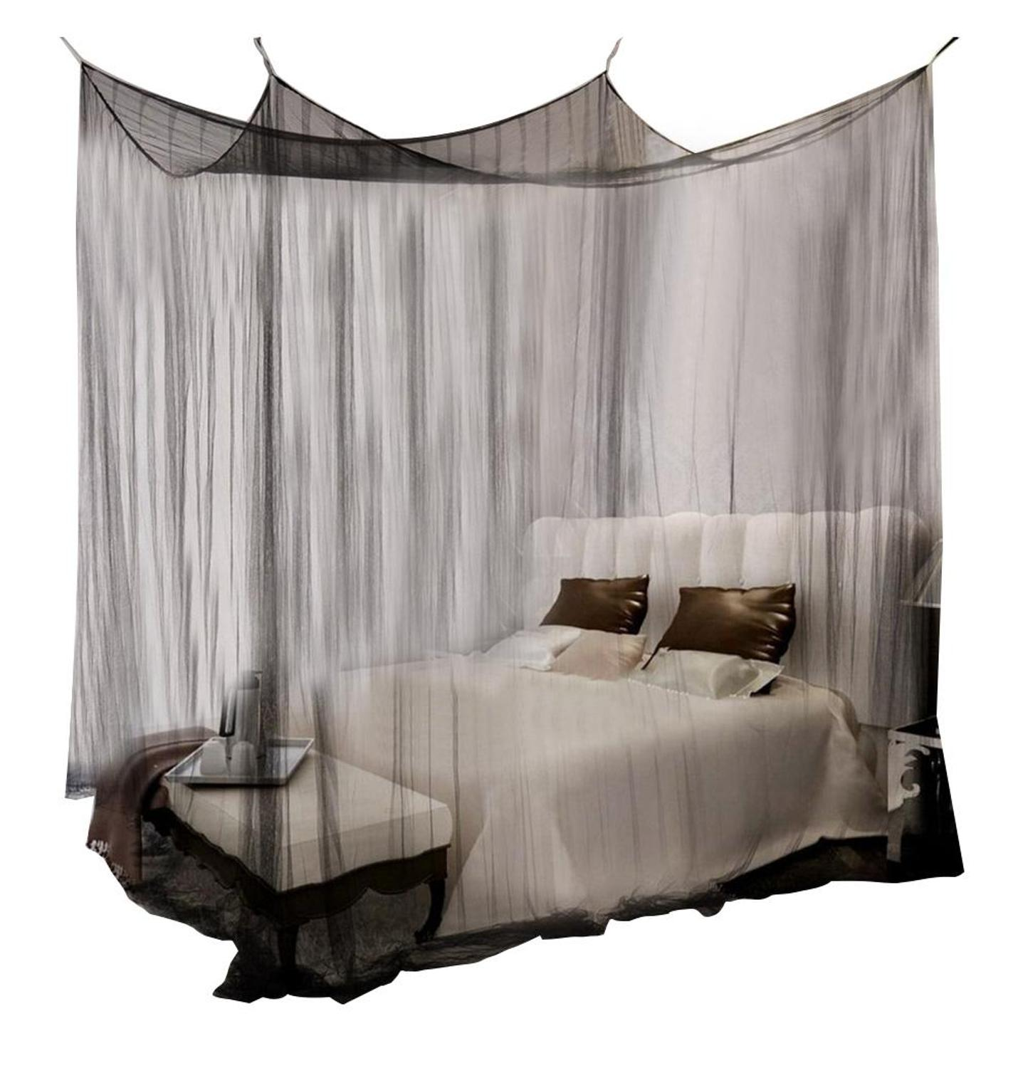 Zerodis Mosquito Net Black White For Double Four Corner Bed  Post Bed Canopy Mosquito Net Full Queen King Size Bedding|Mosquito Net|   - AliExpress