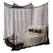 Mosquitera Zerodis negra y blanca para cama doble de cuatro esquinas, mosquitera, mosquitera, ropa de cama tamaño King
