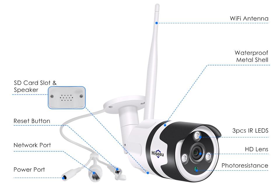 Hiseeu 2MP Wifi Waterproof Outdoor IP Security Camera 20