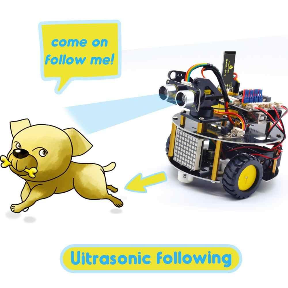 ใหม่ UPDATE! Keyestudio สมาร์ท Little Turtle Robot V3.0 สำหรับหุ่นยนต์ Arduino STEM/สนับสนุน IOS & Android APP Control