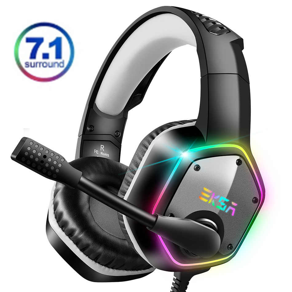 Eksa 7.1 Virtual Surround Gaming Headset Colorful LED Light Gamer Headphone E1000 dengan Super Bass ANC MIC untuk PC PS4 XBOX