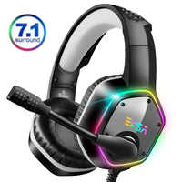 EKSA E1000 7.1 Virtual Surround Gaming Headset Colorful LED Light Gamer Headphones With Super Bass ANC Mic For PC PS4 Gray Green