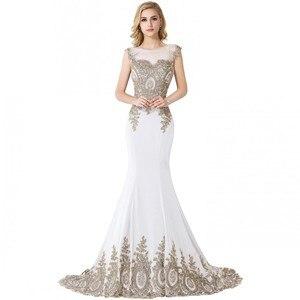 Image 5 - Элегантное Длинное Вечернее Платье Русалка 2021, женское официальное платье с золотистой аппликацией для девушек, платье в пол