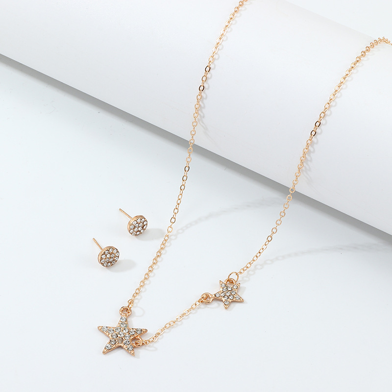 Sz0391 European And American Minimalist Necklace Fashion Elegant Five-pointed Star Diamond Set Necklace Star Pendant Choker