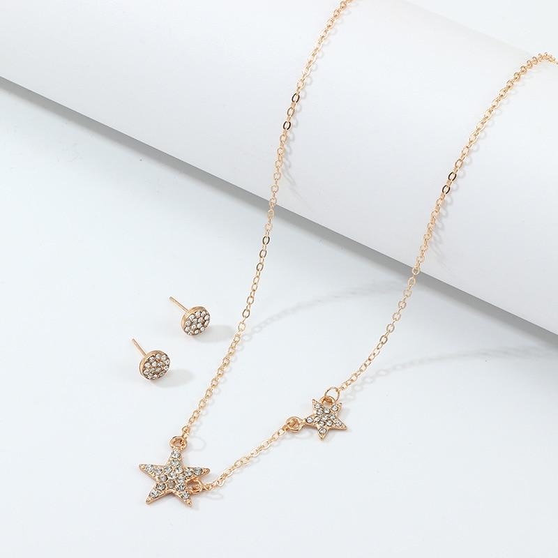 Sz0391 European And American Minimalist Necklace Fashion Elegant Five-pointed Star Diamond Set Necklace Star Pendant Choker