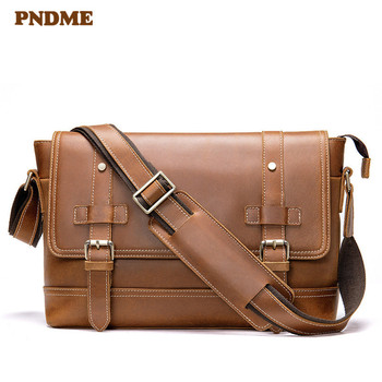 Retro casual natural genuine leather men's travel messenger bag crazy horse cowhide daily work brown 13 inch laptop shoulder bag crazy horse genuine leather shell with stand for iphone 6s 6 4 7 inch brown