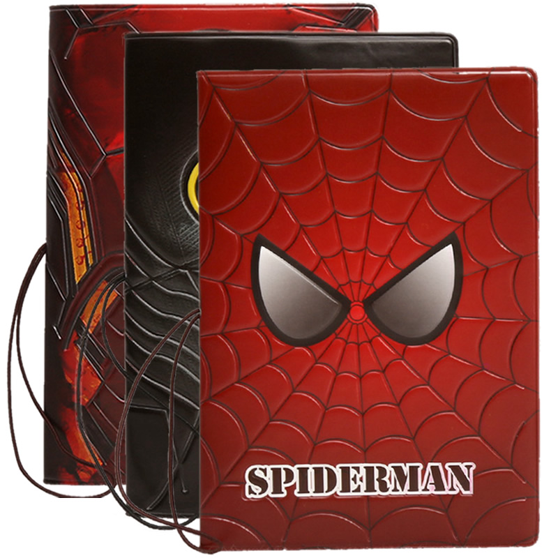 Cartoon Spiderman Passport Cove Travel Accessories ID Address Holder Portable Boarding Card Case PU Leather Men Wallets Bag