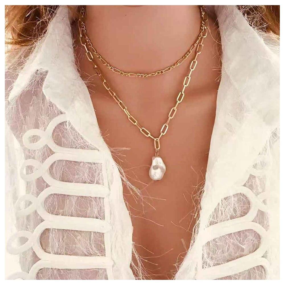 Bijoux populaires simple vent personnalité de la mode collier femmes double perle pendentif collier 13070