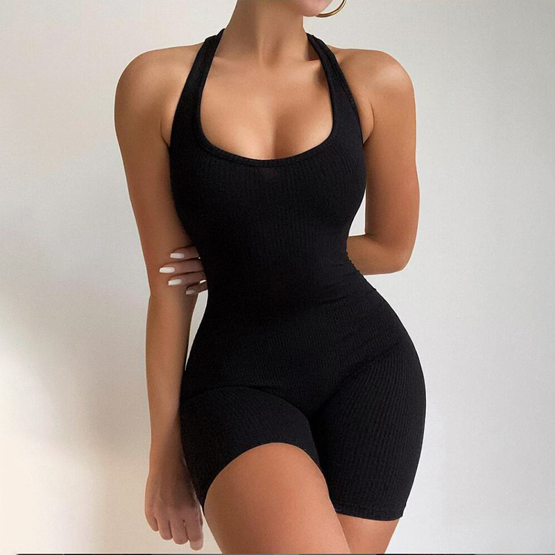 2021 Women Sexy Streetwear Bodycon Solid Knitted Summer Fitness Sport Jumpsuits Romper Playsuits Overalls For Women