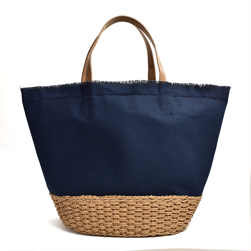 Japan Ins New Beach Canvas Bag Portable Straw Square Large Capacity Hand-woven Bag
