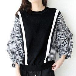 봄 긴 소매 여성 블라우스 2020 한국어 패션 격자 무늬 패치 워크 셔츠 사무실 숙녀 느슨한 인과 풀오버 여성 탑스