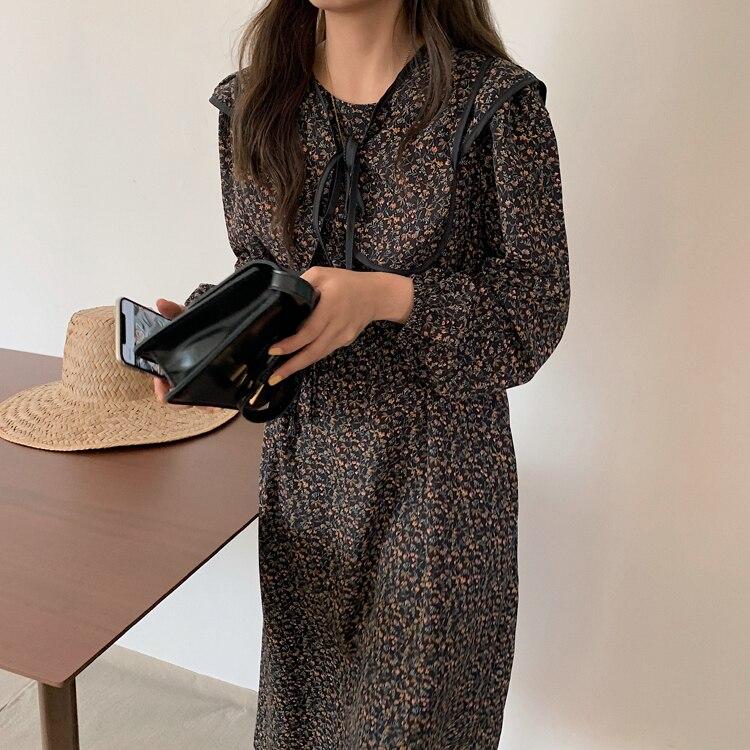 H7102f77e1e764dc8a999861352946df1A - Autumn O-Neck Long Sleeves Chiffon Floral Print Midi Dress