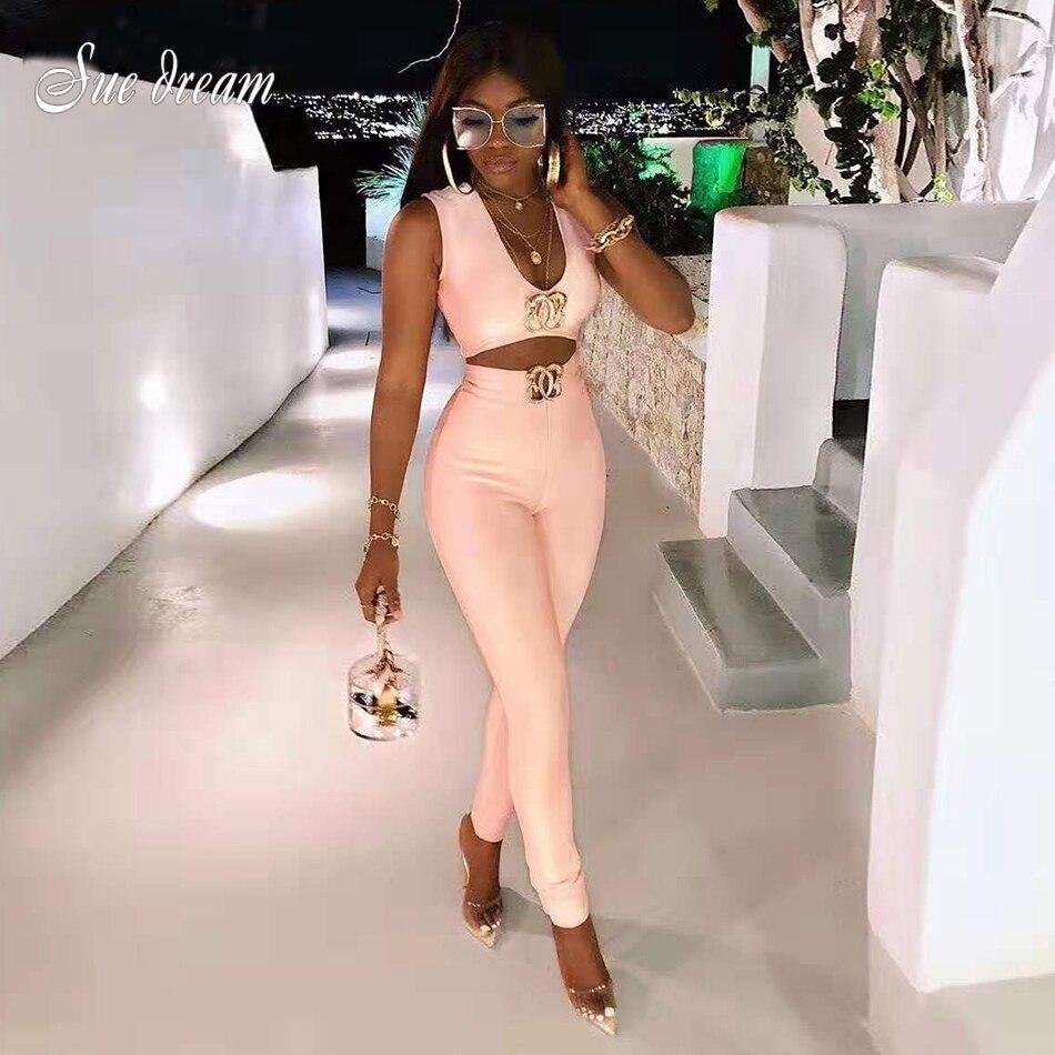 2019 automne nouveau femmes mode Sexy 2 pièces deux pièces ensemble sans manches pansement pantalons longs en métal diamant boucle Club fête ensemble