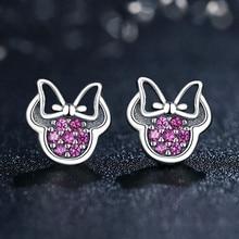 Silver 925 Jewelry Popular Sterling Silver Earrings Mouse Bowknot Shaped Earrings For Women Fashion Zircon Ear Studs Jewelry недорого