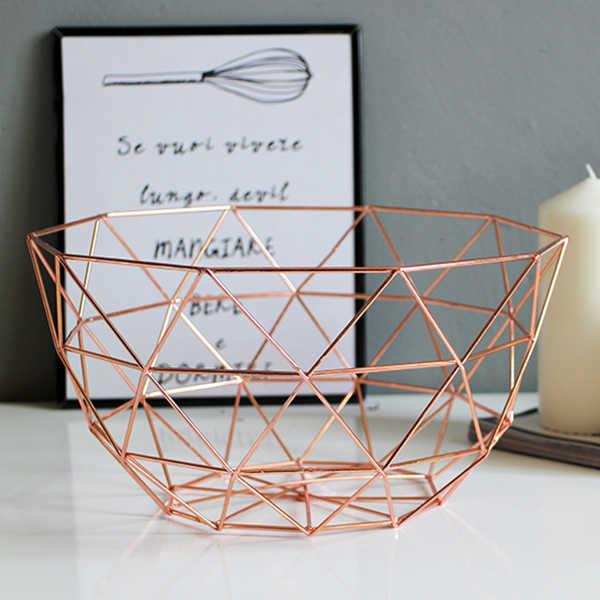 Heißer Verkauf Neue Nordic Lagerung Körbe Gold Metall Kunst Snacks Süßigkeiten Obst Korb für Wohnzimmer Desktop Küche Organizer Korb