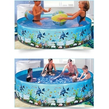 P15C 1PC Outdoor Game for Toddlers Paddling Pool Interactive Above-Ground Pool Inflation-free Hard Plastic Kiddie Round Pool