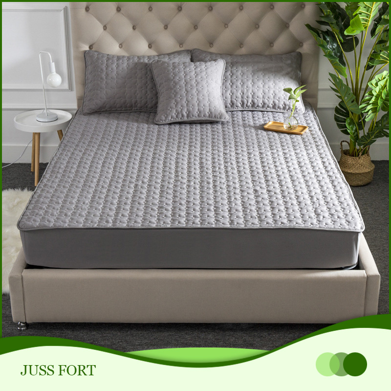New Plush Thicken Quilted Mattress Cover Warm Soft Crystal Velvet King Queen Quilted Bed Fitted Sheet Not Including Pillowcase