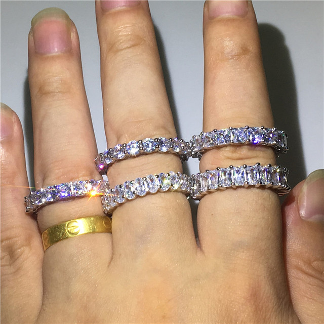 Handmade Eternity pierścień przyrzeczenia 925 srebro AAAA cz obrączka obrączki dla kobiet mężczyzn Finger Party biżuteria
