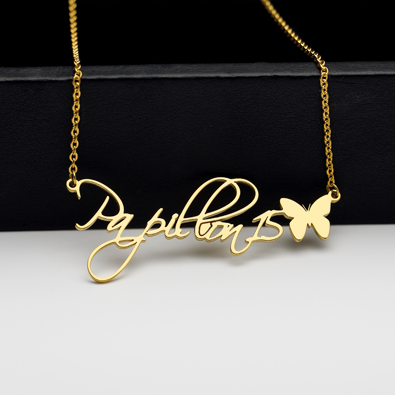 Custom Handwriting Name Necklace Silver Gold Chain Stainless Steel Personalized Cursive Style With Butterfly Bridesmaids Gifts