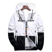 Autumn Bomber Hooded Jacket Mens Fashion Casual Slim Patchwork Windbreaker Jackets Male Outwear Zipper Thin Coats